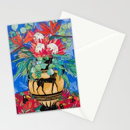 Tropical Protea Bouquet with Toucans in Greek Horse Urn on Ultramarine Blue Stationery Cards
