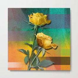 Gold Roses & Colorful Abstract Metal Print