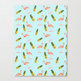 Flamingo and Pineapple Canvas Print