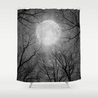 tolkien Shower Curtains featuring May It Be A Light (Dark Forest Moon) by soaring anchor designs