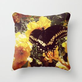 Butterfly with orange flowers Throw Pillow