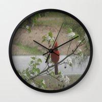 cardinal Wall Clocks featuring Cardinal  by Earth'sAnimalActivist23