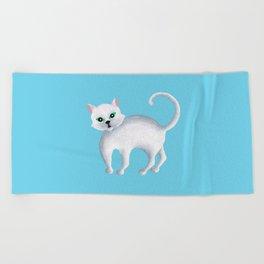 Maddie, White Kitten Beach Towel