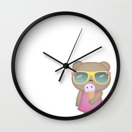 hello summer: cute bear with icecream Wall Clock