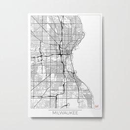 Milwaukee Map White Metal Print