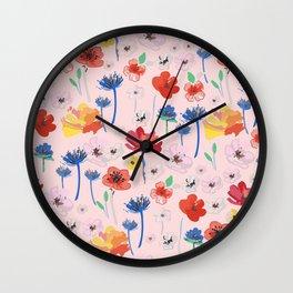 Expressive Blooms 3 Wall Clock