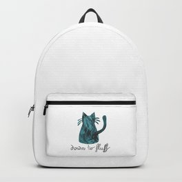 Down to Fluff Cute Cat Quote Blue Abstract Print Backpack