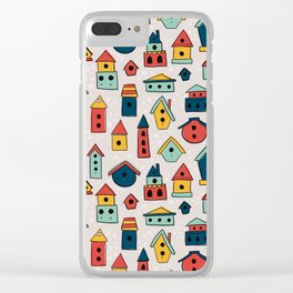 Home Sweet Home - Colorful Woodland Birdhouses Clear iPhone Case