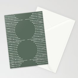 Geometric Lines / Sage Green Stationery Cards