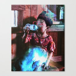 kind of a kid goddess drinking water or something Canvas Print