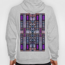 Purple and Blue Art Deco Stained Glass Design Hoody