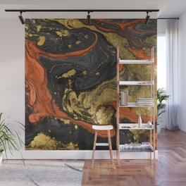 Abstract Pour Painting Liquid Marble Black Orange Painting Gold Accent Wall Mural