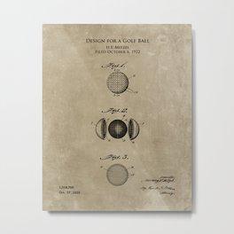 1920s Golf Ball Patent print Metal Print
