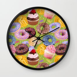 Donuts, Cupcakes, Candy Wall Clock