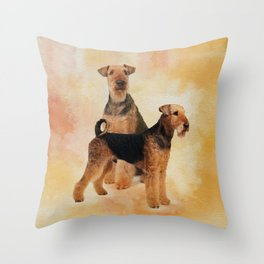 Airedale Terriers Digital Art Throw Pillow