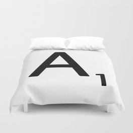 Letter A - Custom Scrabble Letter Wall Art - Scrabble A Duvet Cover
