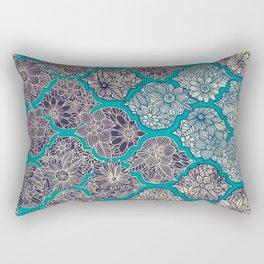 Moroccan Floral Lattice Arrangement - teal Rectangular Pillow