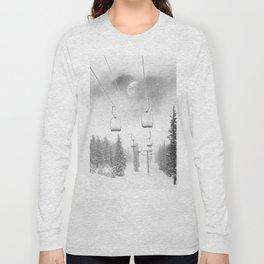 Chairlift Moon Break // Riding the Mountain at Copper Colorado Luna Sky Peeking Foggy Clouds Long Sleeve T-shirt