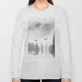 Chairlift Moon Break // Riding the Mountain at Copper Colorado Luna Sky Peeking Foggy Clouds Long Sleeve T-shirt