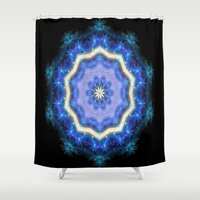 northern lights Shower Curtains featuring Northern Lights Kaleidoscope by NatalieCatLee