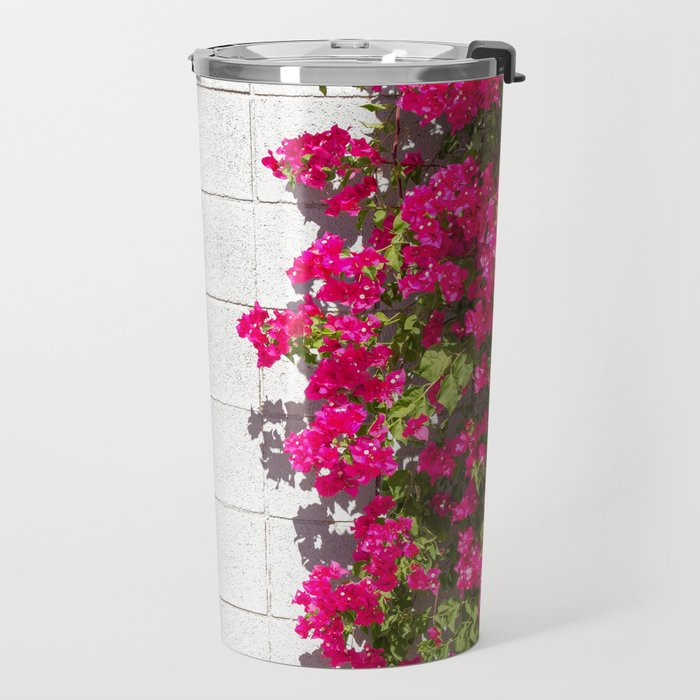 Bougainvilleas and White Brick Wall in Palm Springs, California Travel Mug