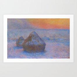 Stacks of Wheat Sunset Snow Effect Art Print