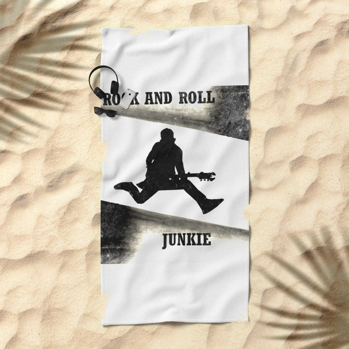 Rock and Roll Junkie Beach Towel