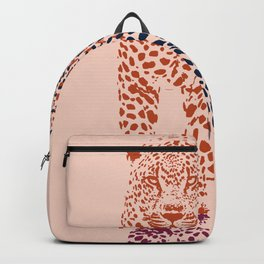 Kitten Club - Navy, Orange & Purple Leopard Print by Kristen Baker Backpack
