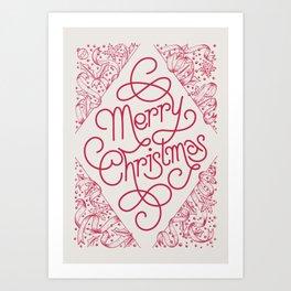 Classic Merry Christmas / RED Art Print