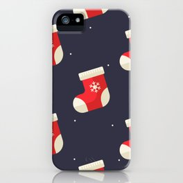 Red Christmas Stocking Pattern iPhone Case