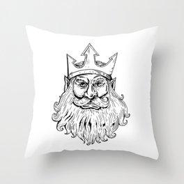 Poseidon Wearing Trident Crown Woodcut Throw Pillow