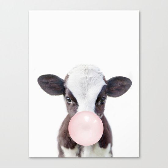 Bubble Gum Baby Cow by amypetersonartstudio