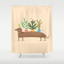 Dachshund & Parrot Shower Curtain