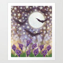 the moon, stars, bats, & calla lilies Art Print