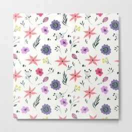 Abstract coral purple violet vector floral pattern Metal Print