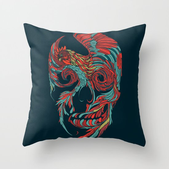 Rooster Skull Throw Pillow