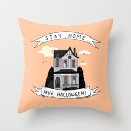 Stay Home, Save Halloween Throw Pillow