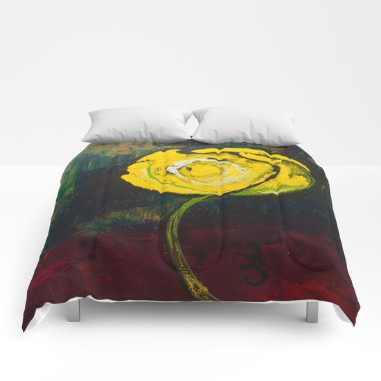 Golden Yellow Rose Acrylic Comforters