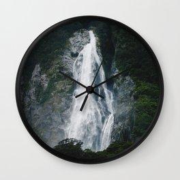 Waterfall in Milford Sound, NZ Wall Clock