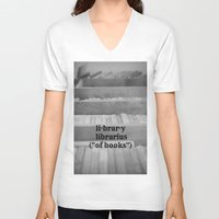 library V-neck T-shirts featuring Library by KimberosePhotography