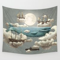 art deco Wall Tapestries featuring Ocean Meets Sky by Terry Fan