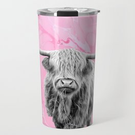 Highland Cow Bland and White on Pink Marble Travel Mug