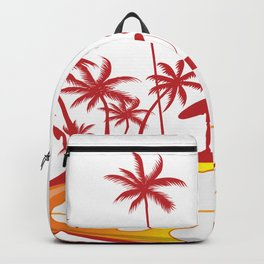 surfboard with palm tree isoalted on white Backpack