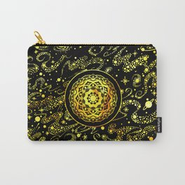 SPACE MANDALA BLACK AND GOLD Carry-All Pouch