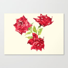 Three Red Roses Canvas Print