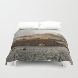 Lone Tree and Dusting of Snow in Mountains of Scotland Duvet Cover
