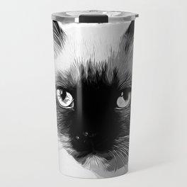 holy birma cat blue eyes vector art black white Travel Mug