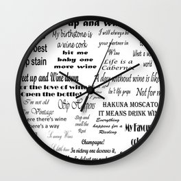 Wine Quotes Wall Clock