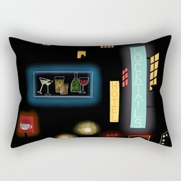 Late Night Neon Lights Rectangular Pillow