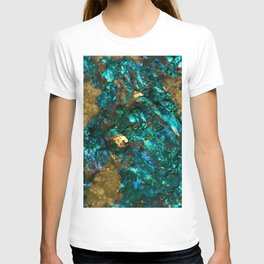Teal Oil Slick and Gold Quartz T-shirt